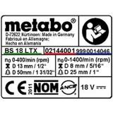 Табличка с информацией METABO для ударных дрелей-шуруповертов SB 18 (338066640)