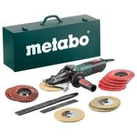 Угловая шлифовальная машина METABO с плоским редуктором WEVF 10-125 Quick Inox Set+набор принадлежностей (5шт) (613080500)