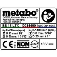 Табличка с информацией METABO для дрелей-шуруповертов BS 18 LT BL Q (338066300)