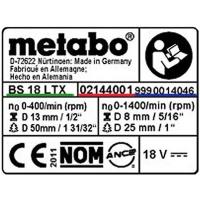 Табличка с информацией METABO для дрелей-шуруповертов PowerMaxx BS (338049640)