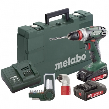 Дрель-шуруповерт аккум. METABO BS 18 Quick + Угловая насадка + Набор бит BitBox SP 9 шт (602217870)