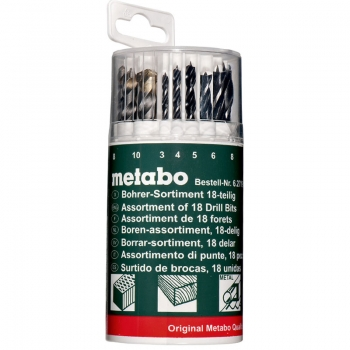 Кассета с набором сверл METABO, 18 предметов (627190000)